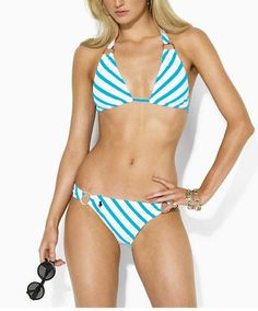 ralph lauren outlet Women\u0026#39;s Golden Hardware Bikini Blue White http://www.poloshirtoutlet