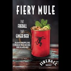 Set fire to the classic.  1 part Fireball 2 parts ginger beer splash pineapple juice splash fresh lime juice  Combine ingredients over ice, stir and enjoy.  #FieryMule #MoscowMule #Mule #Cocktail #GingerBeer #HappyHour