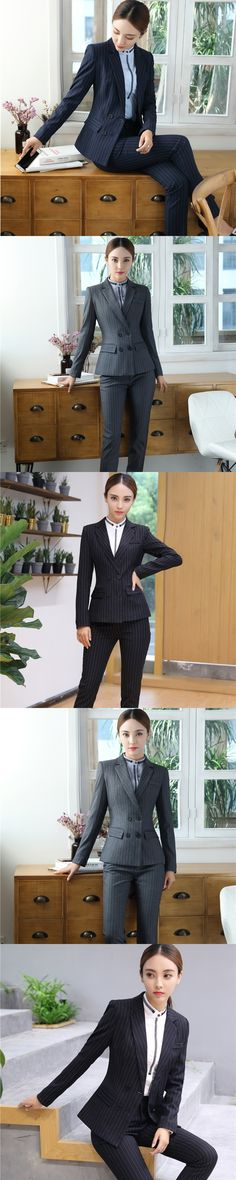 Fashion Striped Slim Uniform Styles Pantsuits With Jackets And Pants For Ladies Office Professional Pants Suits Plus Size Grey
