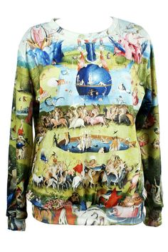 """I'm sure Bosch would be stoked that his famous work was called """"Cartoon Fairyland"""" here. /// ROMWE Cartoon Fairyland Print Long-sleeved Sweatshirt"""