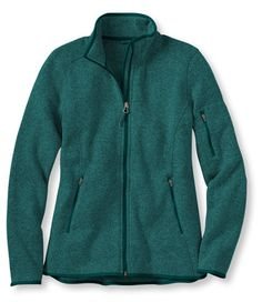 Women's Bean's Sweater Fleece Jacket   Free Shipping at L.L.Bean Good looks of a sweater with the durability of fleece Great for everyday layering Double-faced stretch fabric provides maximum warmth without weight Smooth and rugged on the outside, soft and fleecy on the inside Slightly Fitted: Softly shapes the body; falls at hip Front princess seams create feminine shape Droptail hem Cuffs and hem reinforced with jersey binding 100% polyester Machine wash and dry $79.00