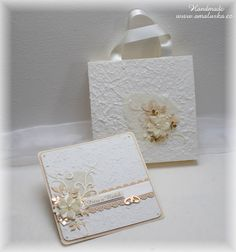 Big creamy wedding card with handmade paper and gift bag.