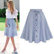 Verano falda de las mujeres vintage impresión de la raya del cordón-up botón de cintura alta faldas vestido de algodón plisado midi hasta la rodilla faldas(China)