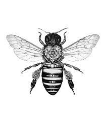 Black and grey bee tattoo