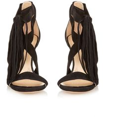 Chloé Tassel suede sandals (11,505 MXN) ❤ liked on Polyvore featuring shoes, sandals, black strappy shoes, strap shoes, suede shoes, strappy shoes and boho sandals