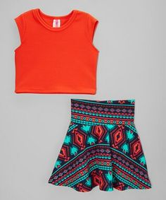 3794fab310 Look at this American Kids Coral Crop Top   Geo High-Waist Skirt - Toddler    Girls on today!