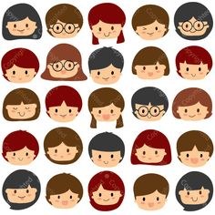 Children Faces Digital Clip Art ED Instant by LocklessCreations
