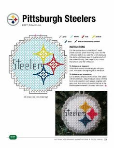 Pittsburgh steelers made pattern Plastic Canvas Coasters, Plastic Canvas Ornaments, Plastic Canvas Christmas, Plastic Canvas Crafts, Xmas Ornaments, Plastic Canvas Patterns, Football Crafts, Football Quilt, Steeler Football