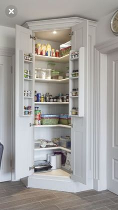 Our bespoke kitchen cabinets offer a range of hand-crafted shelves and … Our bespoke kitchen pantry cupboards, feature rows of crafted shelving & storage solutions to allow for efficient organisation and clutter free kitchens. - Own Kitchen Pantry Kitchen Pantry Cupboard, Kitchen Pantry Design, Kitchen Cupboards, Diy Kitchen, Kitchen Interior, Kitchen Ideas, Corner Pantry Cabinet, Kitchen Pantries, 1950s Kitchen