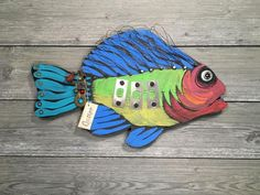 Artful Expressions By Mary & Kenny – Artful Expressions by Mary & Kenny Folk Art Fish, Fish Art, Ceramic Fish, Angler Fish, Sea Art, Project Ideas, Projects, Whale, Painted Fish