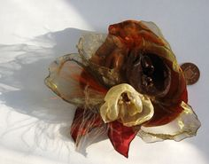 Fabric Flower broach Autumn Blush by PetalsGalore on Etsy, £12.00