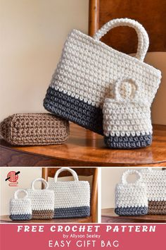Easy Gift Crochet Bag Pattern Free Beautiful crochet tote in three sizes – small 3 x x 3 inches, medium x 2 x 4 inches and large: 7 x x 6 inches. Not difficult for knowing the basic level. Free Crochet Bag, Crochet Purse Patterns, Crochet Shell Stitch, Crochet Gifts, Easy Crochet, Crochet Tote Bags, Knit Bag, Handbag Patterns, Crochet Handbags