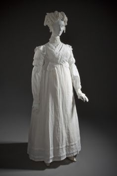 LACMA Collections England, circa 1815-1818 Costumes; principal attire (entire body) Cotton S and Z twill and open gauze Center back length: 54 3/4 in. (139.065 cm)