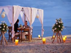 Private dining on the beach at Holiday Inn Regent Beach Cha-Am, Thailand Beach Resorts, Hotels And Resorts, Beach Canopy, Romantic Gestures, Romantic Night, White Sand Beach, Thailand, Asia, Table Decorations