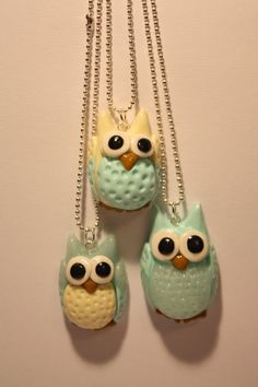 Polymer Clay Owl Colorful Pendant Jewelery by PurpuraAllergica, z40.00