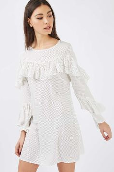 **Ruffle Detail Long Sleeve Top by Glamorous - Tops - Clothing - Topshop Europe