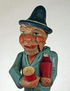 Antique+Wooden+Stopper+of+Drinking+man,+Works+Great,+German?+Anri?++Fun!+