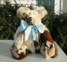 """16"""" bear made from a vintage calfskin coat  http://www.stearnsybears.com/for-sale/16-bear-made-from-a-vintage-calfskin-coat"""