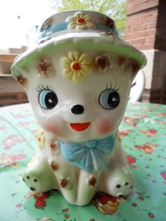 1950's American Ceramics Puppy Planter Box Made in Japan