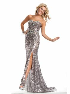 Silver Strapless With Slit