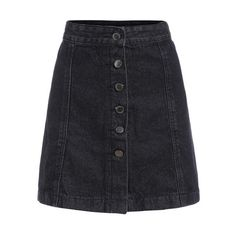 A-Line Denim Skirt With Single Breasted (295 ARS) ❤ liked on Polyvore featuring skirts, romwe, denim skirt, knee length a line skirt, a line denim skirt, knee length denim skirt and a-line skirts