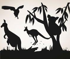 Vinyl Wall Decal Sticker Australian Animals by Stickerbrand Australia Animals, Australia Day, Wall Decal Sticker, Wall Stickers, Australian Nursery, Australia Tattoo, Animal Silhouette, Silhouette Painting, Silhouette Design