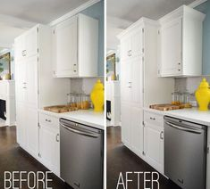 How we added some crown molding to the tops of our kitchen cabinets (it was only 35 bucks and took about 3 hours).