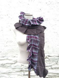 Chunky Plum Grey and White Pleated Soft Plaid and by BobbyLerza