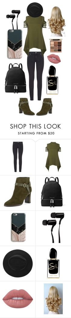 """Holly"" by xxilovebunniesxx ❤ liked on Polyvore featuring Paige Denim, Jimmy Choo, MICHAEL Michael Kors, Outdoor Tech, Giorgio Armani, Lime Crime, Stila, men's fashion and menswear"