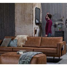 Canapé 3,5 places en cuir Bronco Cognac Drawer