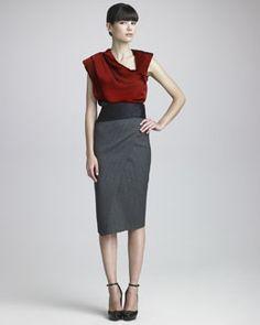 Donna Karan Lustrous Satin Asymmetric Top, Pinstriped Envelope Skirt & Satin Cummerbund Belt