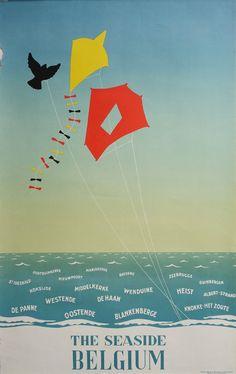 1950s Belgium Seaside Travel Poster  Original by OutofCopenhagen