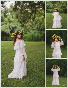 85b3f8ede04 All the boho chic feels! Gorgeous off shoulder ruffle maxi dress with  embroidered dandelion fabric