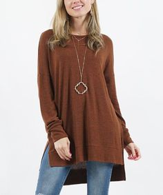 Light Brown Crewneck Thermal Side Snap Button Tunic - Women & Plus Pullover Sweaters, Crew Neck, Tunic Tops, Leggings, High Point, Brown, Casual, How To Wear, Smooth