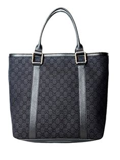 a86f2f302b3 Gucci Large Canvas Leather Tote Shoulder Bag in Black