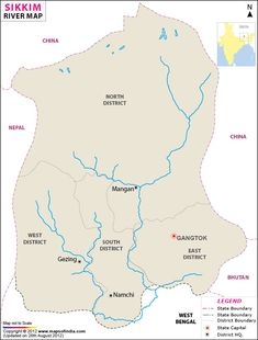 River Map of Sikkim