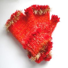 HAND KNITTED FINGERLESS HAND/WRIST WARMERS MITTENS GLOVES FIREWORK SPARKLE
