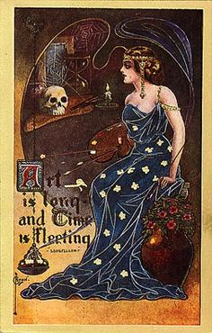Halloween Vintage Card this reminded me somehow of the Nine of Swords from the Art Nouveau Tarot deck Victorian Halloween, Vintage Halloween Images, Halloween Pictures, Vintage Holiday, Holidays Halloween, Halloween Crafts, Halloween Halloween, Halloween Costumes, Halloween Makeup