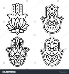 "Set of Hamsa hand drawn symbol with lotus flower. Decorative pattern in oriental style for interior decoration and henna drawings. The ancient sign of ""Hand of Fatima"". - Buy this stock vector and explore similar vectors at Adobe Stock Hamsa Drawing, Hamsa Art, Henna Drawings, Tatouage Main Hamsa, Hamsa Tattoo Design, Hamsa Design, Fatima Hand Tattoo, Hand Of Fatima, Hamsa Tattoo"