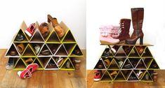 Furniture Design DIY space-saving cardboard shoe rack with geometric truss Transform You Home With A Diy Shoe Rack, Shoe Storage, Rack Design, Diy Design, Create Your Own Shoes, Diy Karton, Diys, Creative Shoes, Cardboard Furniture