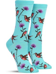 Hummingbirds Colorful Animal Novelty Socks for Women, in spearmint Silly Socks, Funky Socks, Crazy Socks, Cute Socks, Colorful Socks, My Socks, Socks World, Unique Socks, Take Off Your Shoes
