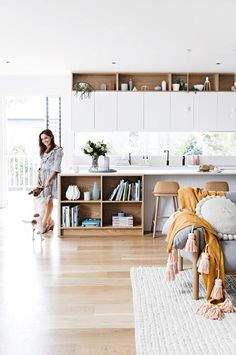 An upgrade to open-plan living gives this growing family a place to call home. Photography by Maree Homer. Styling by Kerrie-Ann Jones. From the October 2017 issue of Inside Out Magazine. False Ceiling Living Room, Interior Desing, Interior Styling, Kitchen Benches, Kitchen Island Bench, Ideas Hogar, Cuisines Design, Open Plan Kitchen, Kitchen Small