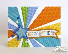 Doodlebug Design Inc Blog: Boy's Starburst Birthday Card by Mendi Yoshikawa