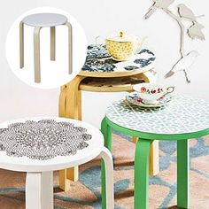 Use wallpaper on the Living & Co Wooden Stool from @thewarehousenz  #thewarehousenzhacks #hacks #furniture #upcycled #upcycle #repurpose #NewZealand  #thewarehousenz #interiors