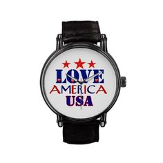 Red White Blue Love Amercia USA PATRIOT Wristwatch