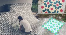 New Spray Painted Tile Floor Patterns in Abandoned Spaces by Javier De Riba