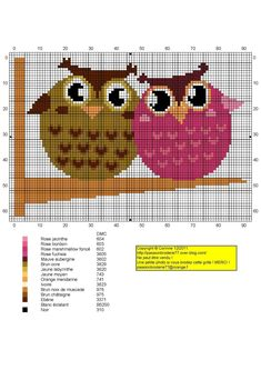 amour - love - chouette - point de croix - cross stitch - Blog : http://broderiemimie44.canalblog.com/