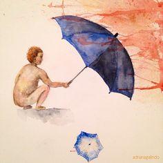 watercolor / aquarela, 29 x 21 cm fantasia / fantasy guarda chuva umbrella Adriana Galindo drigalindo1@gmail.com
