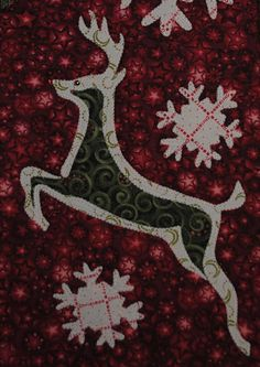 Brushed Reindeer  Quilted Christmas Wall Hanging by JenKariArts, $6.50