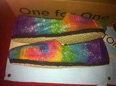 Tie Dye Glitter Toms by Karen Laughlin